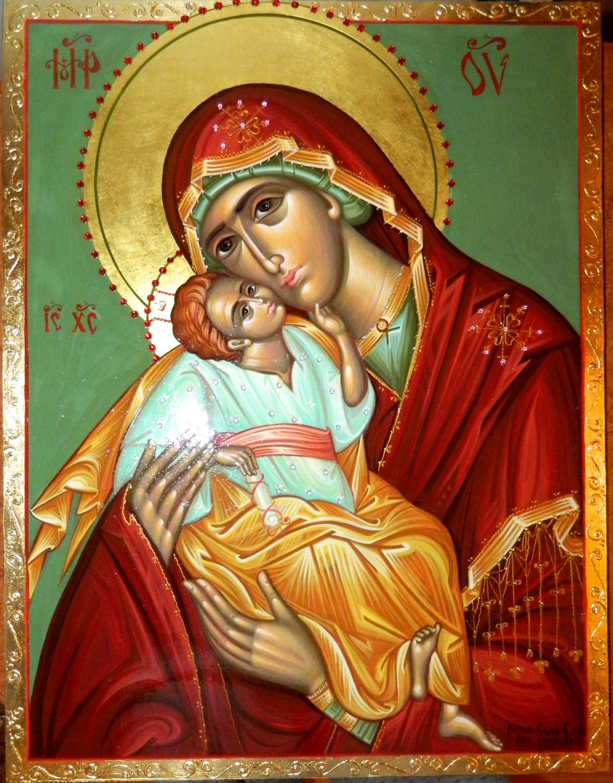 Maica Domnului cu Pruncul- Icoana pictata pe lemn, cu foita de aur de 23,5K, decoratii cu pietre semipretioase. Dimensiune 50 cmX 40cm