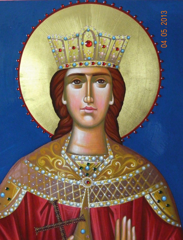 Sfanta Mare Mucenita Irina- DETALIU- Icoana realizata pe lemn, in tehnica bizantina,cu foita de aur de 22k, aplicatii de pietre semipretioase. Dimensiune 116cmx 70 cm