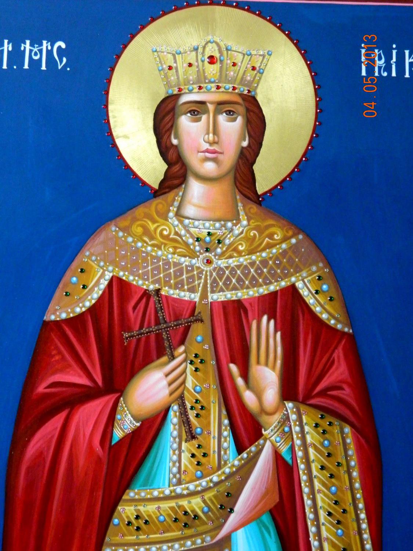 Sfanta Mare Mucenita Irina-DETALIU- Icoana realizata pe lemn, in tehnica bizantina,cu foita de aur de 22k, aplicatii de pietre semipretioase. Dimensiune 116cmx 70 cm