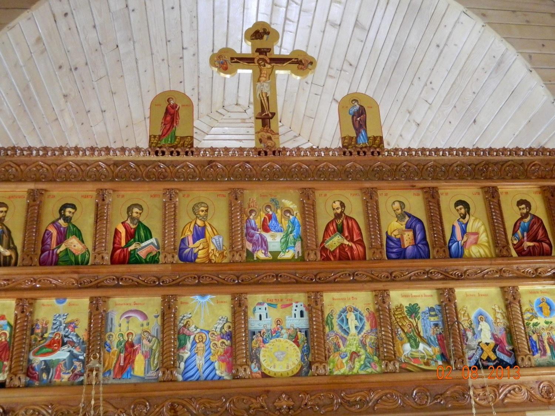 Catapeteasma Bisericii Sfantul Vasile cel Mare- DETALIU- Icoanele sunt pictate pe lemn, tehnica neobizantina, si foita de aur 22k.