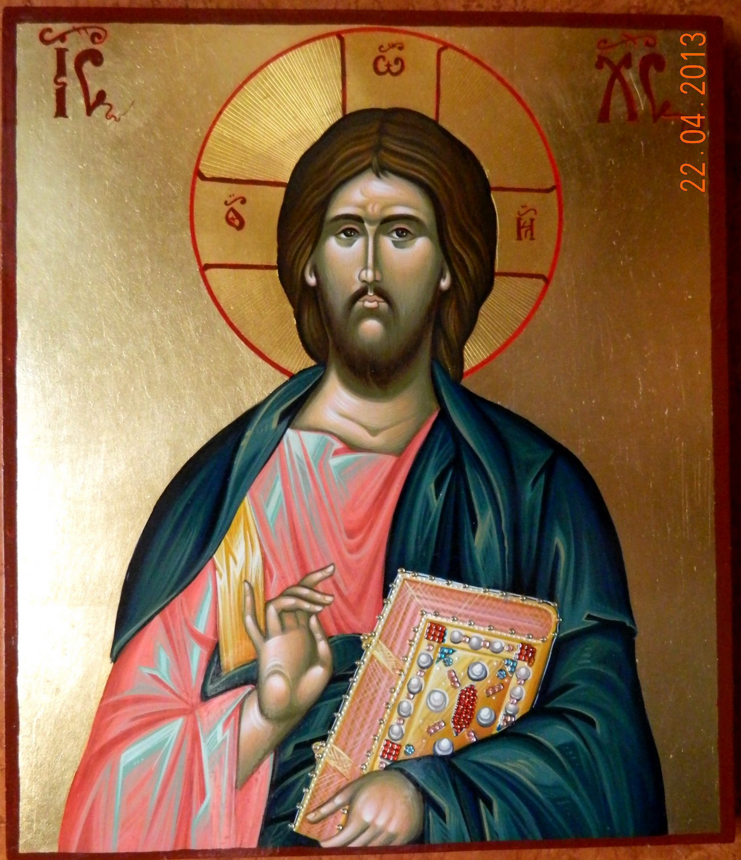 Domnul Iisus Hristos ( Pantocrator)- Icoana pe lemn, realizata in tehnica bizantina, cu foita de aur de 23,5 K, si foita de shlachmetal pe fond. Dimensiuni 30,5cmX 26cm.