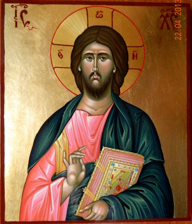 Domnul IIsus Hristos ( Pantocrator)- Icoana pe lemn, realizata in tehnica bizantina, cu foita de aur de 23,5 K, si foita de shlachmetal pe fond. Dimensiuni 30,5cmX 26cm