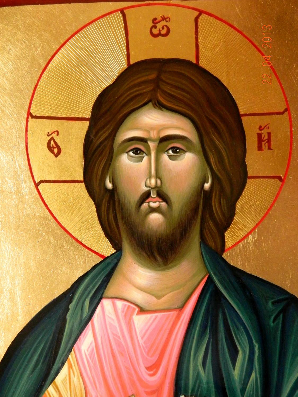 Domnul Iisus Hristos ( Pantocrator)- DETALIU-Icoana pe lemn, realizata in tehnica bizantina, cu foita de aur de 23,5 K, si foita de shlachmetal pe fond. Dimensiuni 30,5cmX 26cm.
