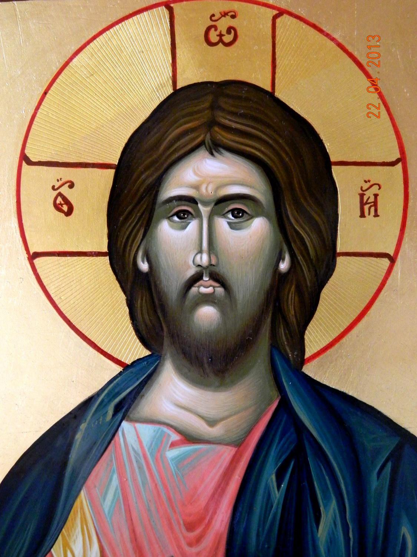 Domnul Iisus Hristos ( Pantocrator)-DETALIU- Icoana pe lemn, realizata in tehnica bizantina, cu foita de aur de 23,5 K, si foita de shlachmetal pe fond. Dimensiuni 30,5cmX 26cm.