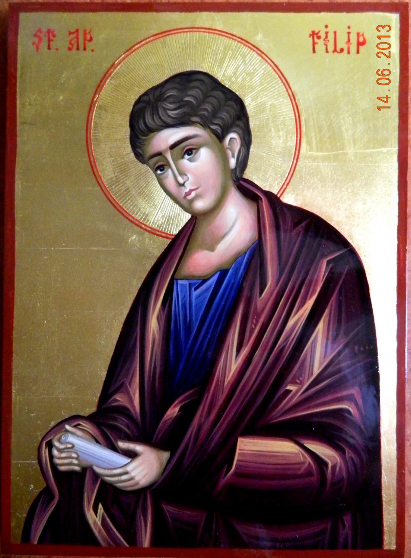 SFANTUL APOSTOL FILIP- Icoana pe lemn, tehnica neobizantina, cu foita de aur de 22k. Dimensiune A4