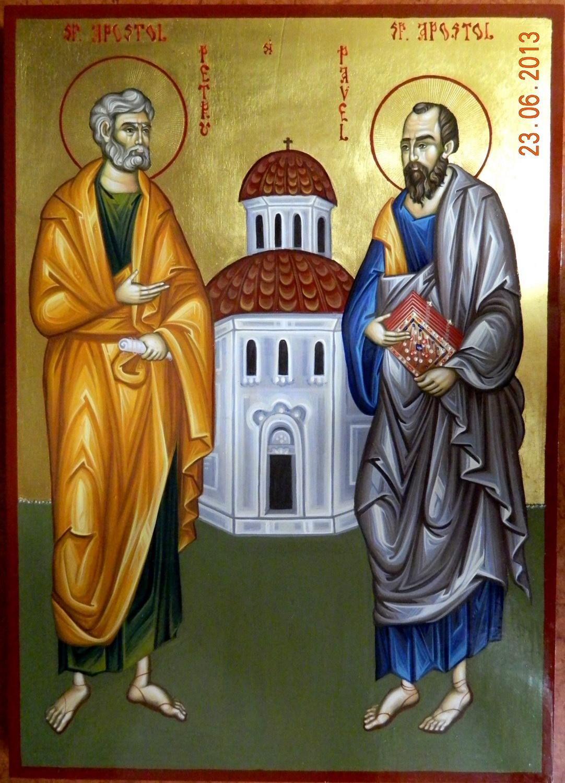 SFINTII APOSTOLI PETRU SI PAVEL- Icoana pe lemn, tehnica bizantina, cu foita de aur de 22k. Dimensiuni 29cm X41cm ( A3)