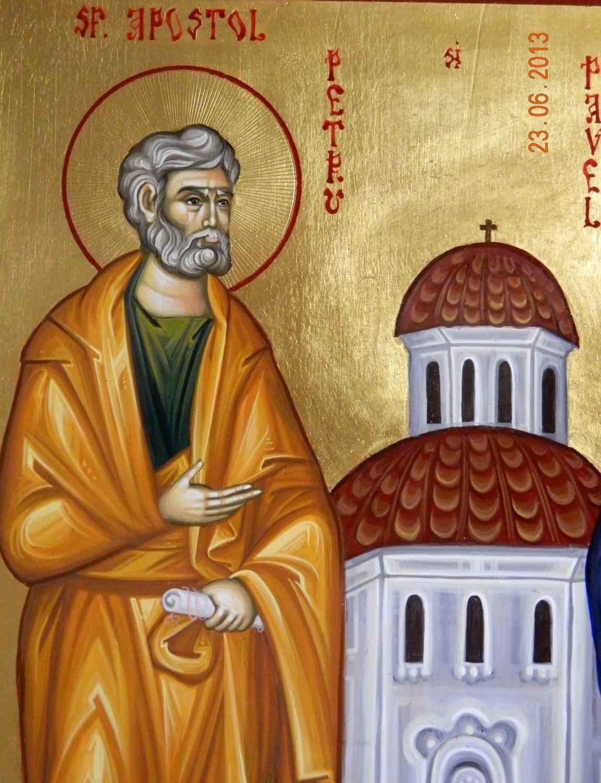 SFINTII APOSTOLI PETRU SI PAVEL- DETALIU-  Icoana pe lemn, tehnica bizantina, cu foita de aur de 22k. Dimensiuni 29cm X41cm ( A3)