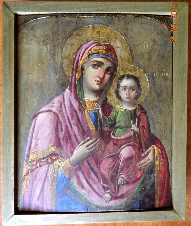 Imaginea icoanei Maica Domnului cu Pruncul- Aspect final dupa restaurare.